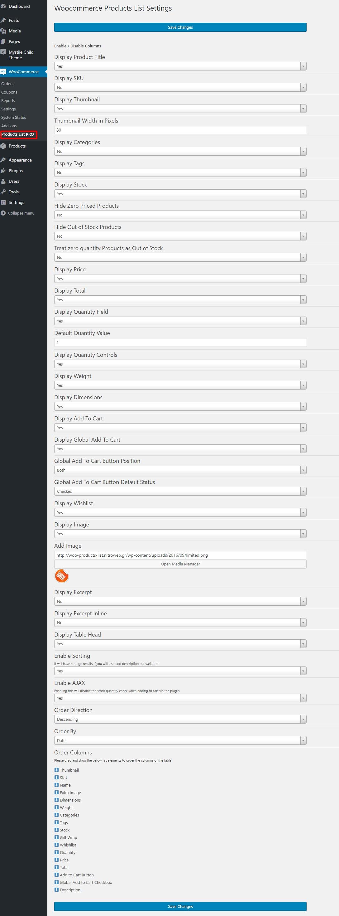wp-admin plugin settings